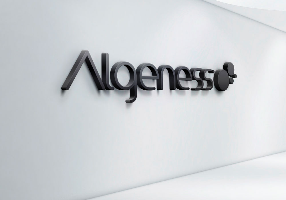 Algeness logo on a wall